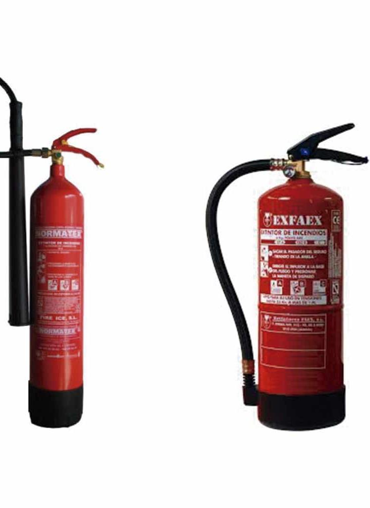 extintores de CO y de polvo